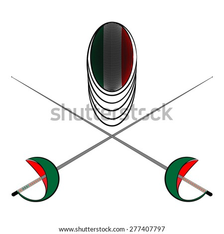 Team Italy. Sports fencing protective mask  with the image of a flag of Italy and a sword to attack. The symbol for fencing of  Italy. - stock vector