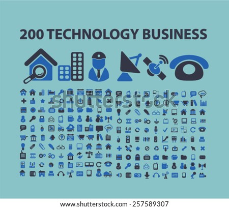 200 technology business, communication isolated icons, signs, silhouettes, illustrations,  set, vector - stock vector