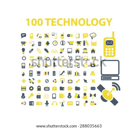 100 technology, communication, mobile, electronics icons, signs, illustrations set, vector - stock vector
