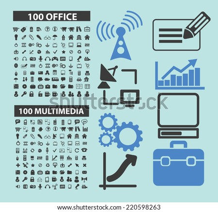 200 technology, computer, electronics, connection icons, signs, illustrations, silhouettes set, vector on blue background - stock vector