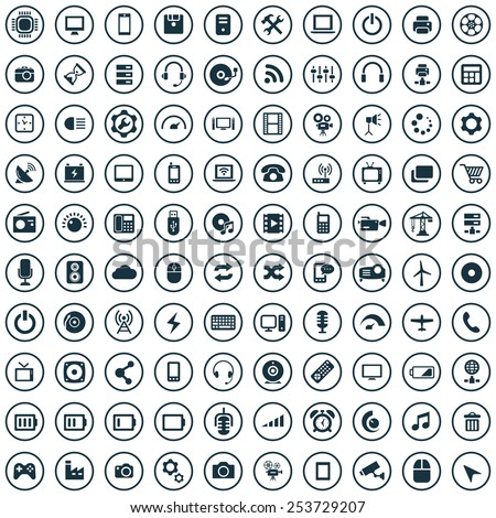 100 technology icons - stock vector