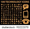 100 technology icons set, vector - stock vector
