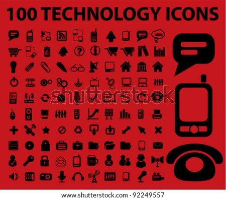 100 technology icons set, vector illustrations - stock vector