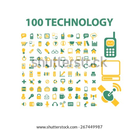 100 technology isolated web icons, signs, illustrations concept design set, vector - stock vector