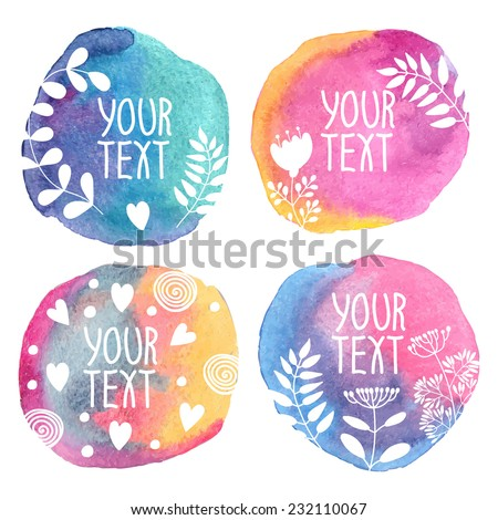 Template banner or postcard. Watercolor background. Set. Vector - stock vector
