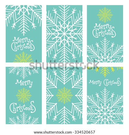 Template frame design for banner, placard, invitation. December vector background.Set Christmas and Happy New Year template . Bright Winter Holidays cards with large snowflake. Place for text. - stock vector