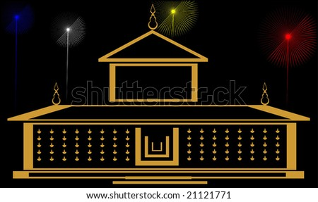 temple and color lights - stock vector