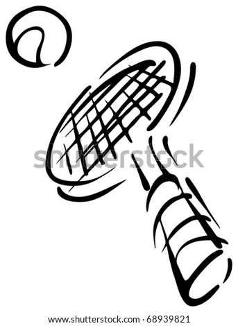 Tennis rocket drawing. vector illustration. - stock vector