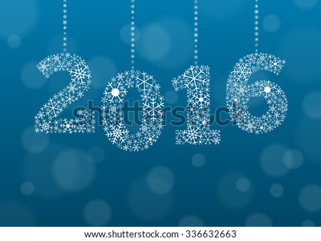 2016 text made of snowflakes on background with bokeh effect and enough copyspace for you text - stock vector