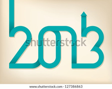 2013 text shaped out of curling ribbon - stock vector