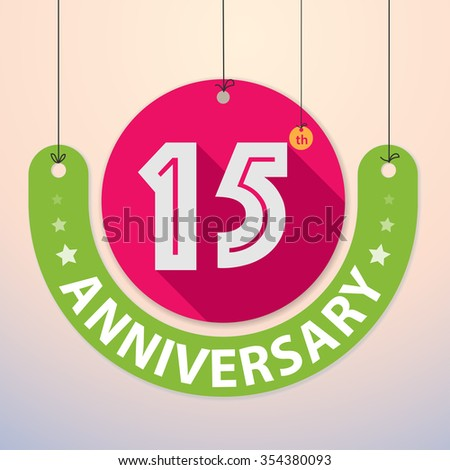 15th Anniversary - Colorful Badge, Paper cut-out - stock vector