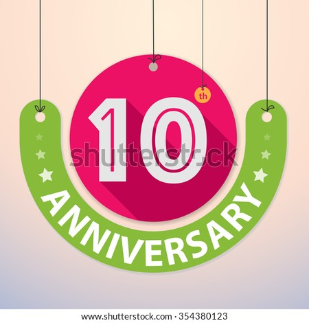 10th Anniversary - Colorful Badge, Paper cut-out - stock vector