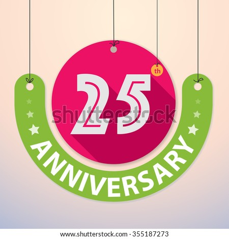 25th Anniversary - Colorful Badge, Paper cut-out - stock vector