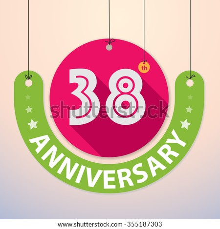 38th Anniversary - Colorful Badge, Paper cut-out - stock vector