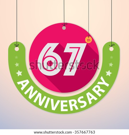 67th Anniversary - Colorful Badge, Paper cut-out - stock vector