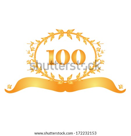 100th anniversary golden floral banner - stock vector
