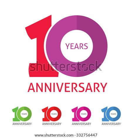 10th anniversary logo template  with a shadow on circle number 1 (one). 10 years anniversary icon. Ten years birthday party symbol. Tenth company sale sticker, badge, ribbon, poster, logotype, emblem - stock vector