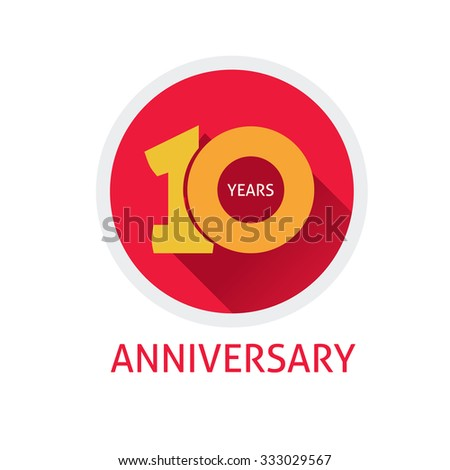 10th anniversary logo template  with a shadow on circle number 1 (one). 10 years flat icon. Ten years birthday party symbol. Tenth company. Promotion and sale sticker, ribbon, poster, emblem, tag - stock vector