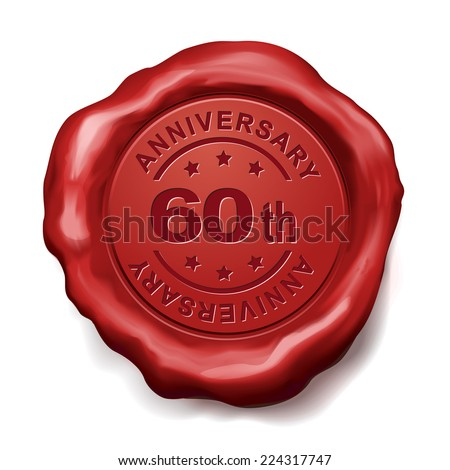 60th anniversary red wax seal over white background - stock vector
