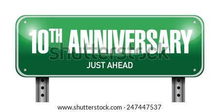 20th anniversary road sign illustration design over a white background - stock vector