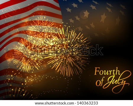 4th July, American Independence Day celebration background with waving national flag. - stock vector