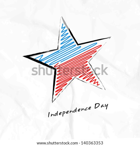 4th July, American Independence Day concept with star in flag colors on grungy grey background. - stock vector