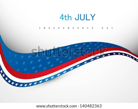 4th july american independence day creative wave vector - stock vector