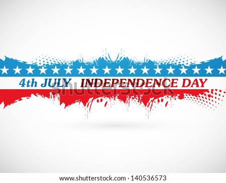 4th july american independence day grunge flag background white vector - stock vector