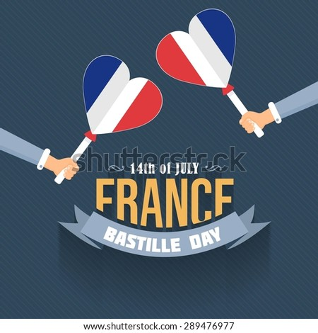 14th July Bastille Day of France Announcement Celebration Message Poster, Flyer, Card, Background Vector Design. Flat Style Heart Symbol France Flag Hold Hands.  - stock vector