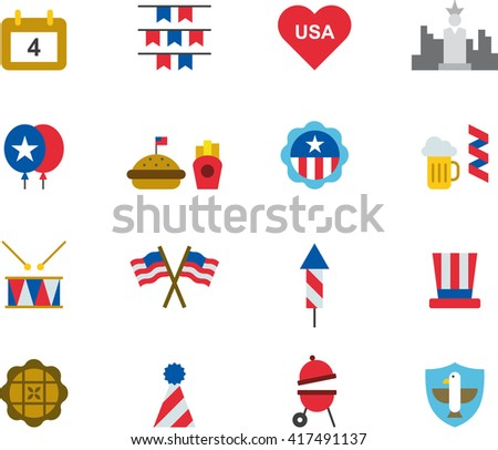 4TH JULY flat colored icons - stock vector