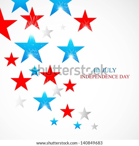 4th July stars of American independence day white background - stock vector
