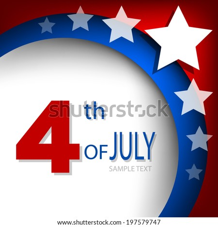 4th of July, American independence day background curve for text and message design , vector - stock vector