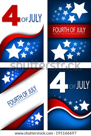 4th of July, American independence day background set  - stock vector