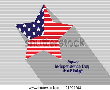 4th of July, American Independence Day background with star in national flag colors - stock vector
