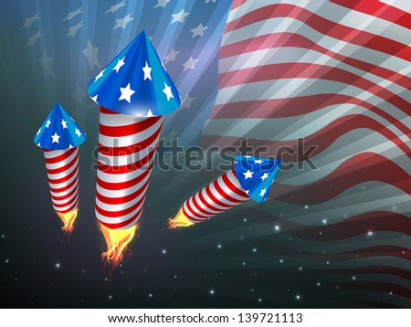 4th of July, American Independence Day celebration background with fire cracker. - stock vector