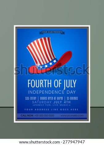 4th of July, American Independence Day celebration invitation card in glossy blue color with hat, date, time and place details. - stock vector