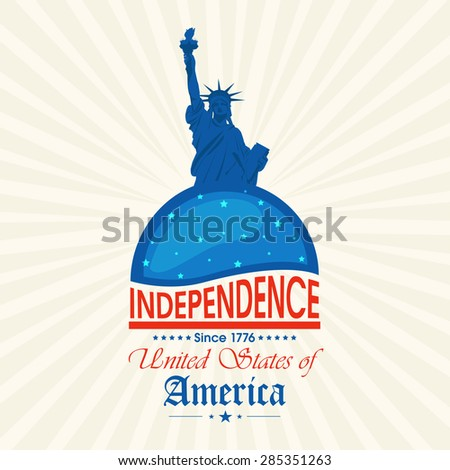 4th of July, American Independence Day celebration with illustration of statue of liberty on abstract rays background. - stock vector