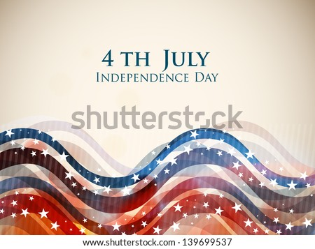 4th of July, American Independence Day colorful waves background in national flag colors. - stock vector
