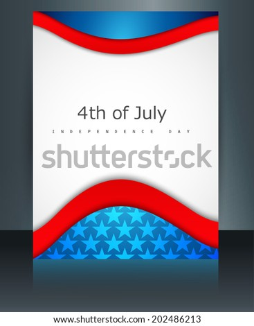 4th of July American independence day flag celebration template brochure wave reflection illustration vector - stock vector