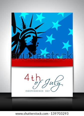 4th of July, American Independence Day flyer or brochure with image of statue of liberty. - stock vector