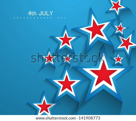 4th of July American Independence Day stars in American Flag blue background vector - stock vector