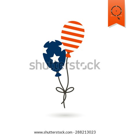 4th of July, Independence Day of the United States, Simple Flat Icon. Balloons Vector - stock vector