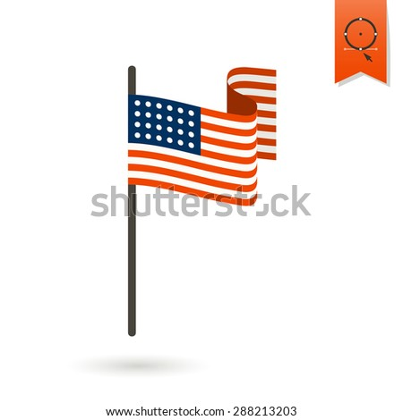 4th of July, Independence Day of the United States, Simple Flat Icon. Flag Vector - stock vector