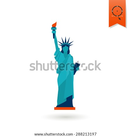 4th of July, Independence Day of the United States, Simple Flat Icon. Statue of Liberty Vector - stock vector