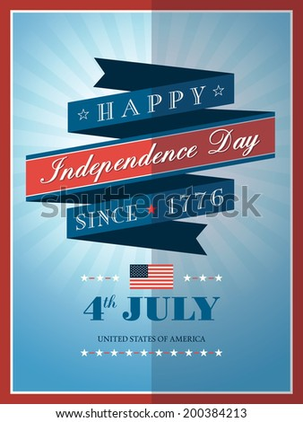 4th of july Independence day ribbon background for card or poster - stock vector