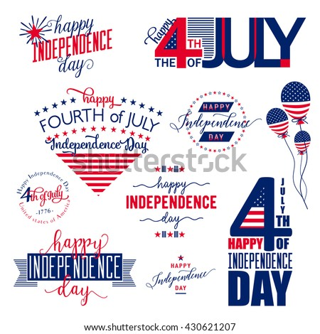 4th of july patch, label, badge, logo element. Fourth of July felicitation simple overlay. USA Happy Independence day greeting card. Vector illustration with flag, balloon, star, lettering, typography - stock vector