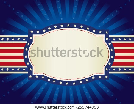 4th of july retro frame with stars and stripes on glowing starburst background - stock vector