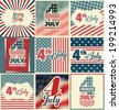 4th of July Set - Independence Day Design Collection - stock vector