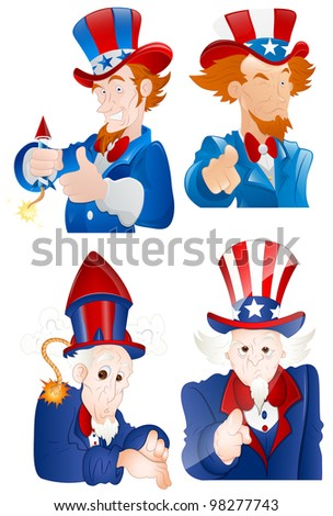 4th of July Uncle Sam Portraits - stock vector