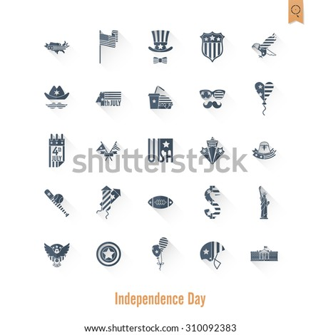 4th of July, United States Independence Day, Simple Flat Icons. Vector - stock vector